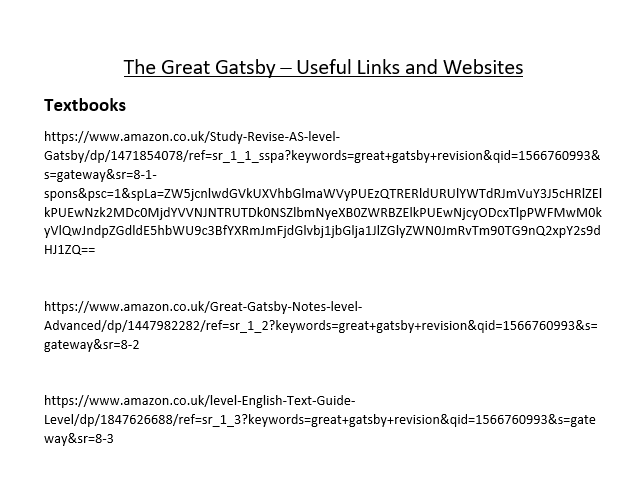 The Great Gatsby - Useful Links and Websites