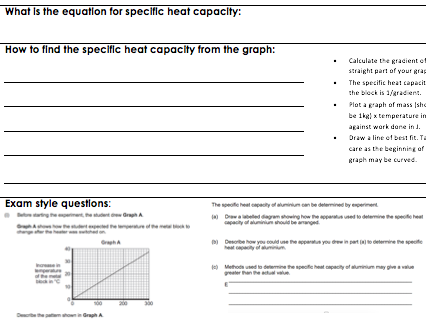 Specific heat capacity differentiated writing frames worksheet and exam questions