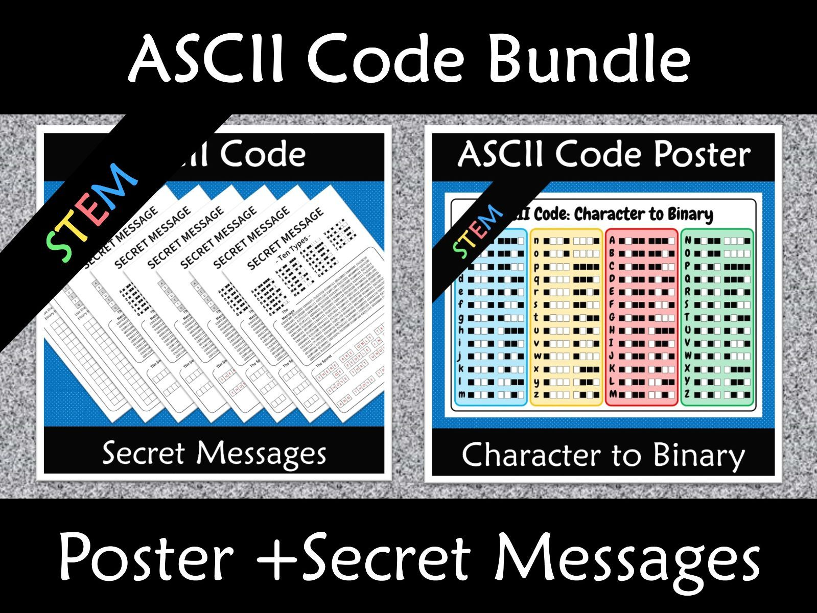 ASCII Code to Binary Secret Codes and Poster Bundle