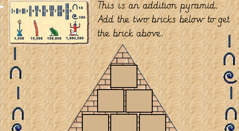 Ancient Egyptian Themed Addition Pyramid Adding 1, 2 and 3 digit numbers