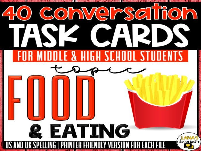 Conversation Starter Cards | Food and Eating | Social Skills for Middle&High