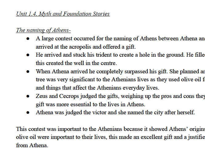 1.4 Foundation Stories Myth and Religion - Notes OCR Classical Civilisation GCSE