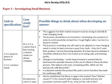 Aid To Develop Analysis (AO3a)