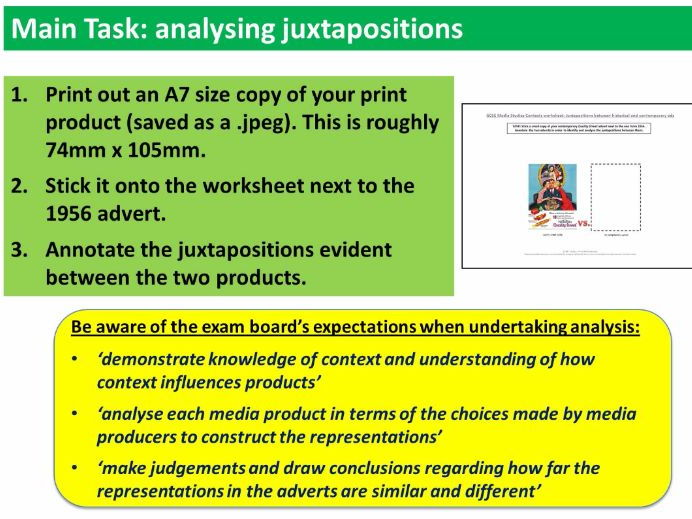 9-1 GCSE Media Studies Contexts lesson 15 (Analysing Juxtapositions)