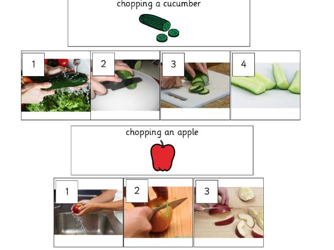 how to... step by step food instruction photographs for meals, fruit and vegetable preparation