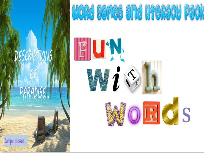 Word Games and Literacy Pack - with Paradise Descriptive Writing