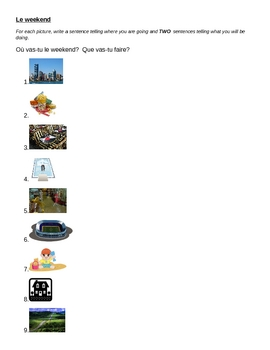 Places and Weekend activities worksheet