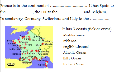 Geography of France Lesson (powerpoint and worksheet)