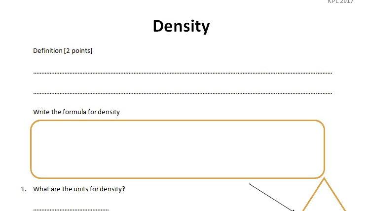 GCSE Physics Worksheet: Density, Definition, formula Q&A