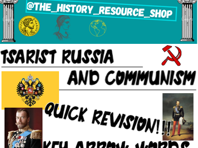Tsarist Russia and Communist key word bookmarks