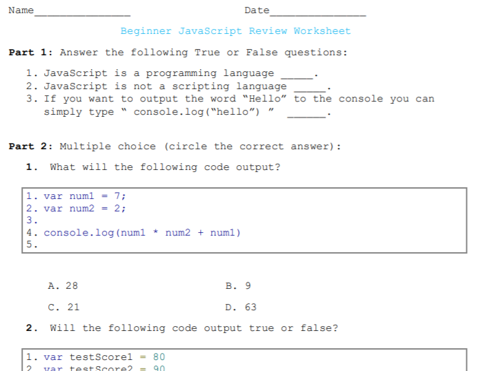 Beginner JavaScript Worksheet