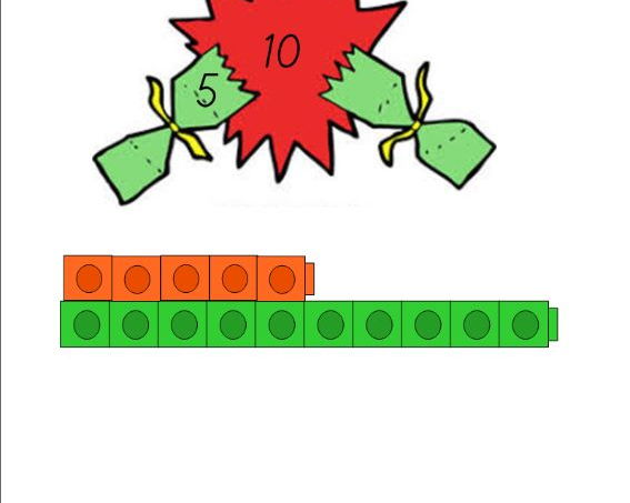 Christmas Number Bonds to 10 Missing Number Calculations Crackers Using Multilink Cubes