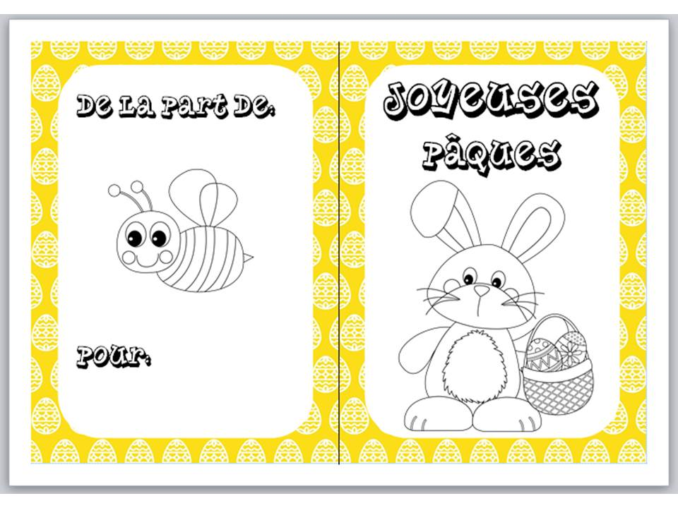 Easter colouring cards in French 5