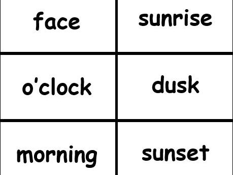Time Word Cards for KS1