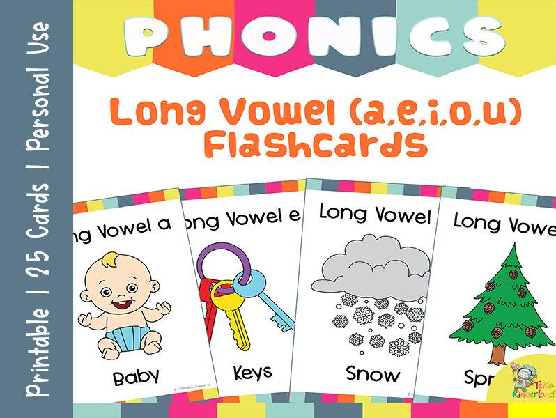 Long Vowels Words Phonics  Flashcards | Phonics Cards Printable TeKa Kinderland