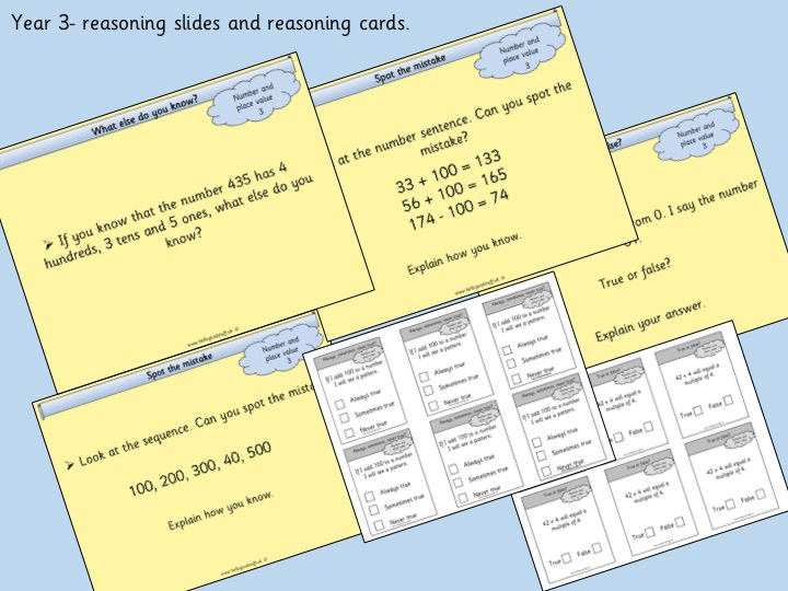 Reasoning Slides and Cards- Year 3- Number and Place Value
