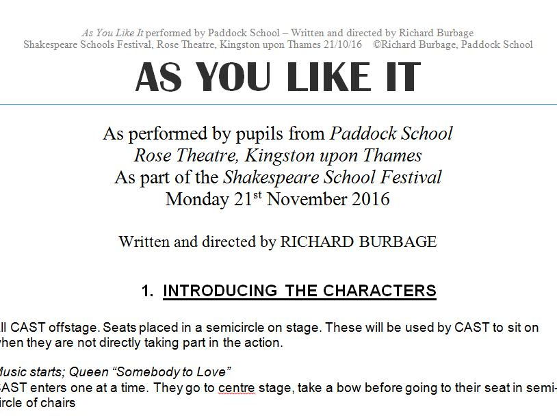 As You Like It (2016) Performance Script for pupils with autism and severe learning difficulties