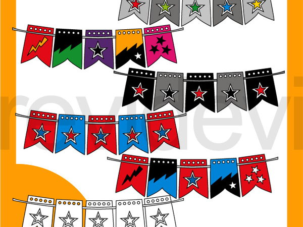 Superhero Stars Bunting Clipart - Colors and black white