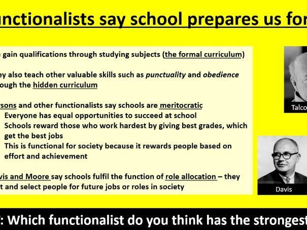 GCSE Sociology (Eduqas / WJEC) - Education: Functionalist views [PowerPoint Presentation]