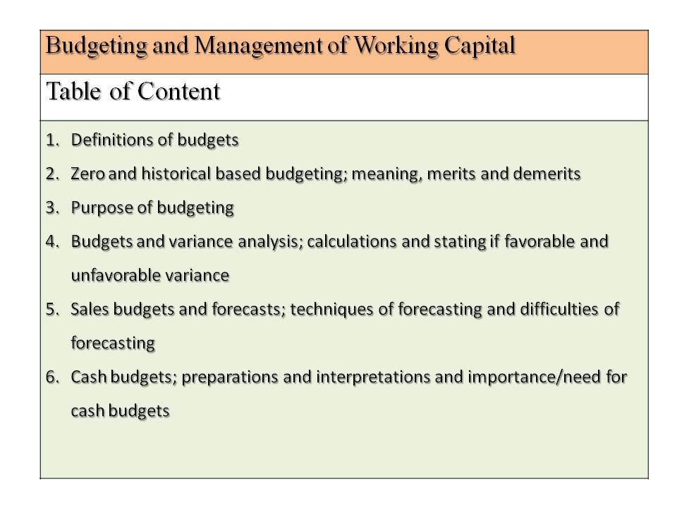 A level Business Budgeting and Management of working capital