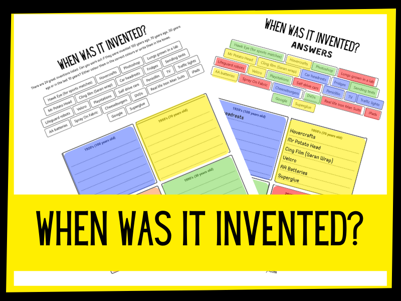 When was it invented? Grouping activity KS2