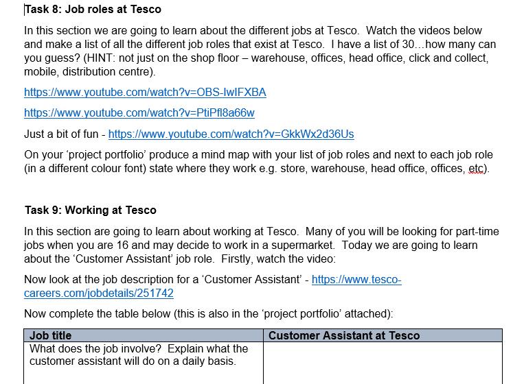 GCSE/ BTEC Tesco Business Project (series of 10 tasks)