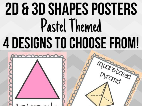 Pastel 2D and 3D Shape Posters