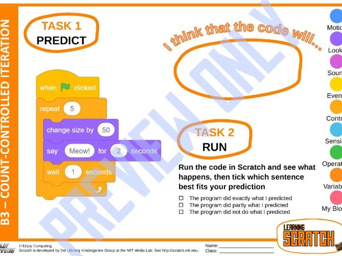 Learning Scratch using PRIMM – Count-controlled iteration