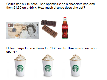 KS1 Money word problems - differentiated