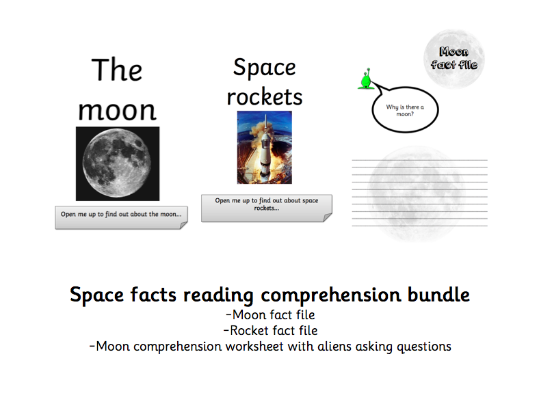 SPACE - Moon and Rocket Fact File and comprehension sheet - EYFS / KS1