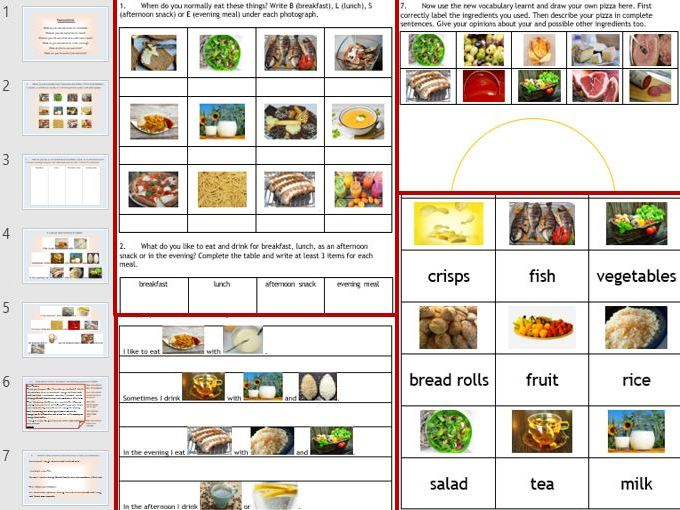 ESL EAL English Food and Drink: 6-page wkbk, 9-slides PPP, 42 cue cards, vocab and picture vocab