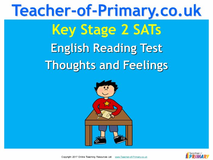 KS2 SATs English Reading – Thoughts and Feelings