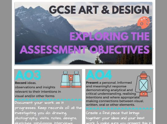GCSE Art and Design Assessment Objectives Poster for dispay or handout