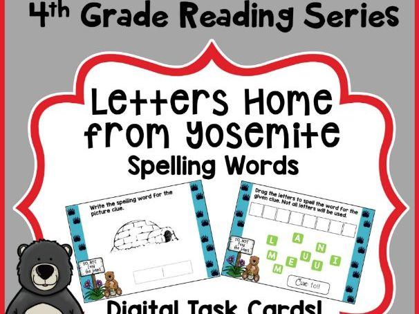 4th Grade Reading Street - Letters Home From Yosemite Spelling - Boom Cards