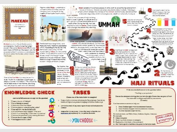 Islam: Pilgrimage and Mecca, Hajj and Makkah - Task Mat