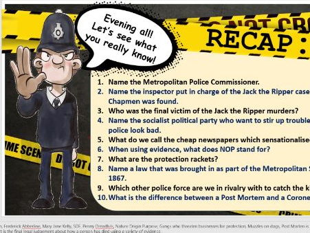 Lesson 10: Edexcel GCSE History 1-9 - Whitechapel Study -Changes result of Jack the Ripper