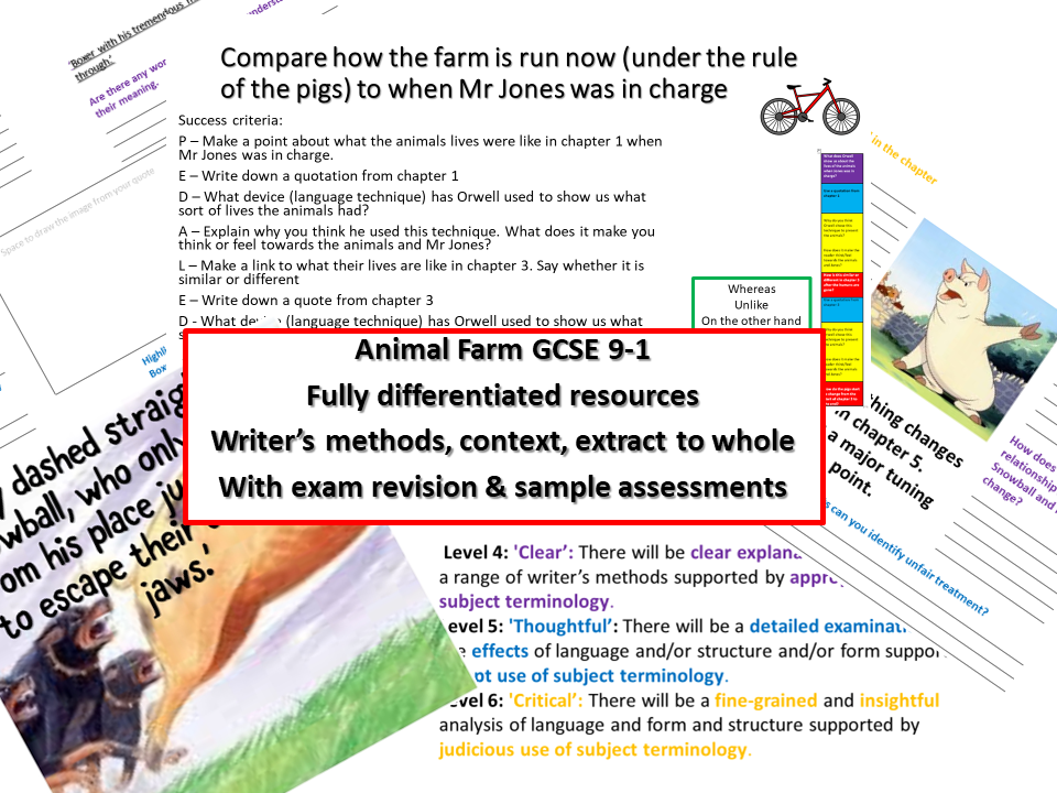 Animal Farm GCSE 9-1 whole novel differentiated with exam revision and sample assessment materials