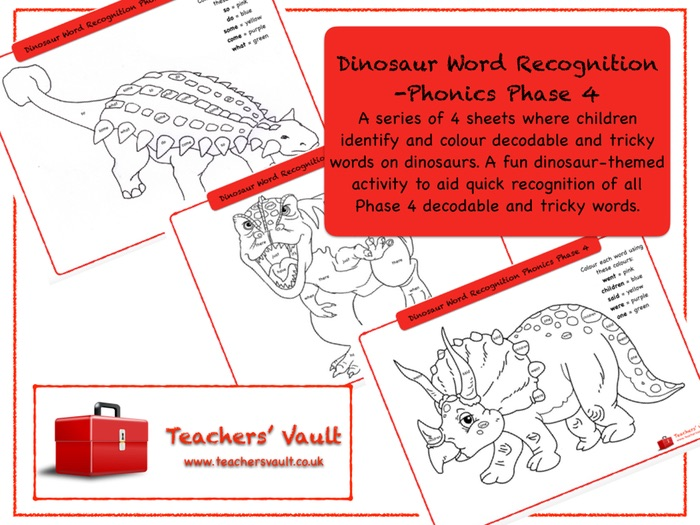 Dinosaur Word Recognition -Phonics Phase 4