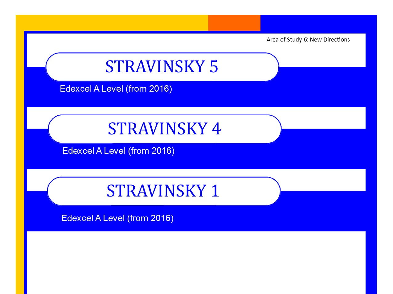 Bundle+ of Edexcel Music A level (from 2016) Stravinsky worksheets 1,4 and 5 PLUS Elements of Music summary sheets.