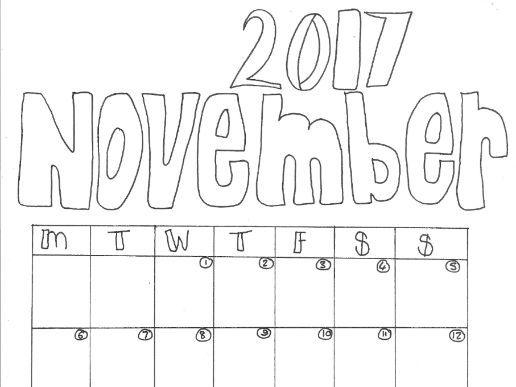 November Calendar Organiser and Colouring Sheet