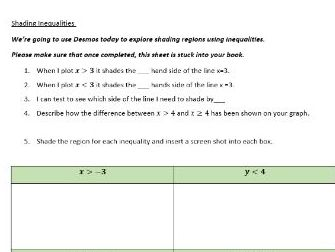 Shading inequality regions independent task for lesson