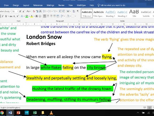 London Snow - Fully Annotated Poem CIE