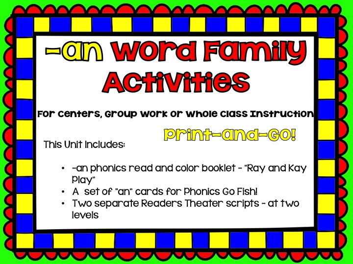 Phonics: phonograms: Word Family -an Activities for Centers, Group or Whole Class Work
