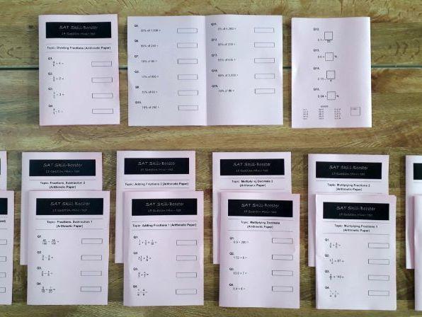 SAT Revision Mini-Test Booklets: Arithmetic Set (Fractions, Decimals, Percentages)