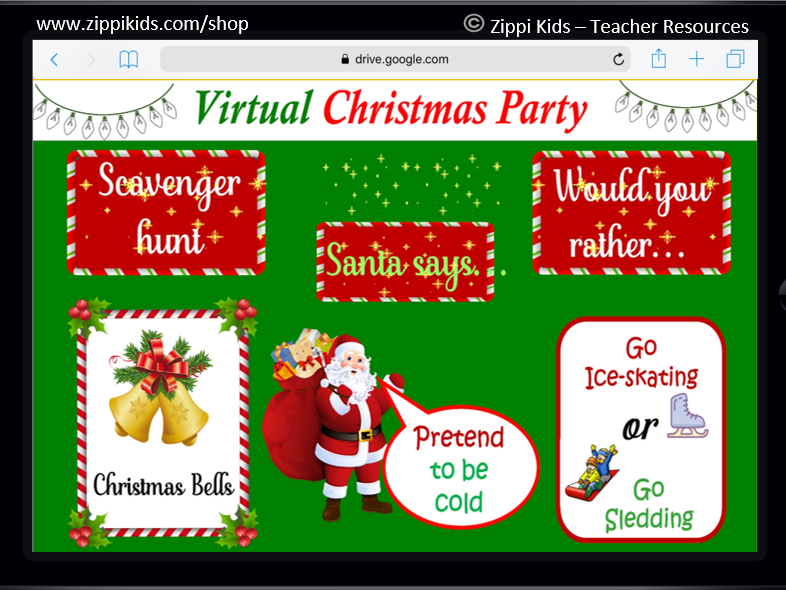 Virtual Christmas Party Scavenger Hunt Christmas Games 40 Google Slides Teaching Resources