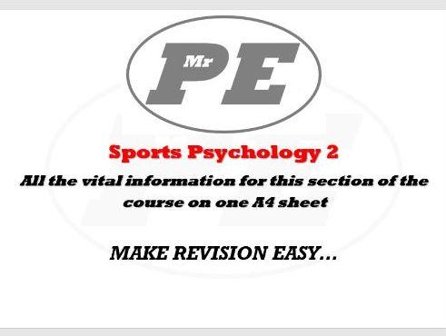 KEY INFO SHEET Sports Psychology part 2