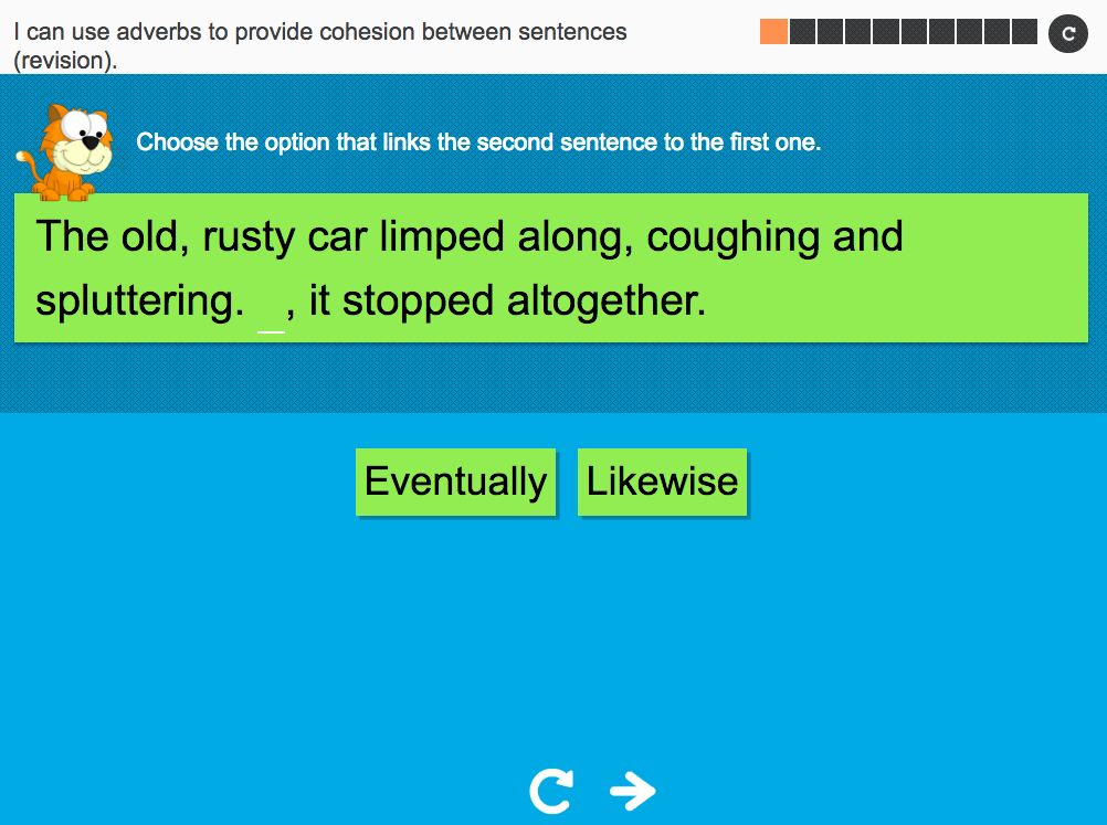 I can use adverbs to provide cohesion between sentences (revision) - Interactive Activity - Year 6 Spag