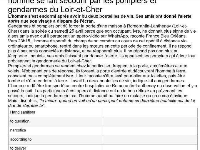 A level French Worksheet: Drugs, Alcohol