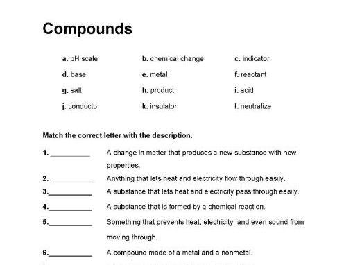 Compounds worksheet