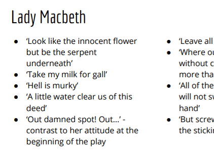 GCSE English Macbeth Character Quotes